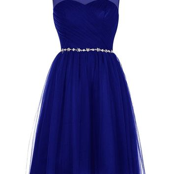 Fashion Plaza US Women's Short Bridesmaid Dress Tulle Prom Dress Scoop Party Cocktail Gown