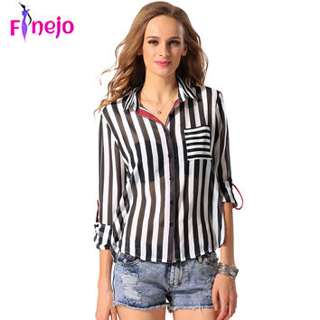 FINEJO Black White Striped Chiffon Blouse Shirts  2016 Women Ladies Elegant Casual Turn-down Collar Long Sleeve Office Tops