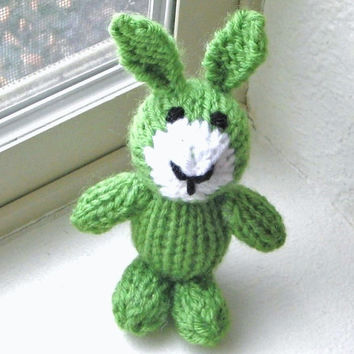"Tiny Green Bunny Hand Knit Animal Doll - Newborn Photo Prop Easter Toy - Small Knit Baby Stuffed Animal Easter Bunny Rabbit Toy 4 3/4"" Tall"