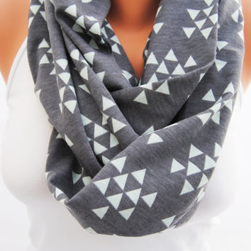 Charcoal infinity scarf, Gray and mint triangles, Grey geometric scarf, soft jersey knit scarf, great gift idea, charcoal gray and mint