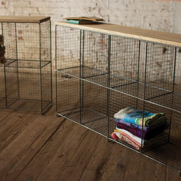 Wire Four Cubby Console with Wooden Top