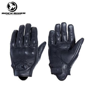 ROCK BIKER Motorcycle Touch Screen Mens Womens Leather Gloves Motocross Vintage Guantes Moto Outdoor Sports Dirt Bike Luva Moto