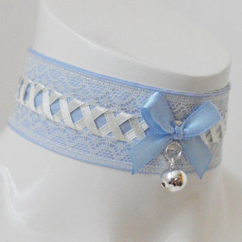 Kitten play collar - Heavens bells - necklace pastel kawaii cute lolita neko girl kitten pet play - lavender and blue lace collar