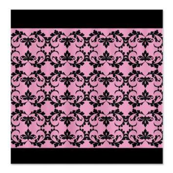 Black Damask Pattern on Pink Shower Curtain> Black and white elegant floral pattern> CircusValleyMall