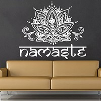 Wall Decal Vinyl Sticker Decals Mandala Namaste Lotus Flower Indian Lotus Yoga Wall Stickers Home Decor Art Bedroom Design Interior Wall Decor Mural