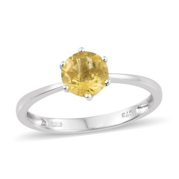 Yellow Fluorite Sterling Silver Solitaire Ring