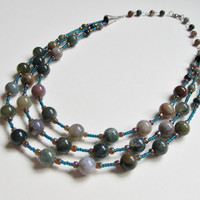 Fancy Jasper Bead Necklace, Beaded Gemstone Necklace, Multistrand Bead Necklace