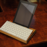 "The ""Keyboard Companion"" custom wooden combo stand for iPad 1, 2, 3and iPad mini plus wireless iMac keyboard"