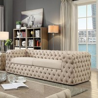 Contemporary Style Button Tufted Sofa, Beige