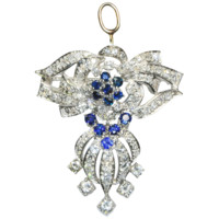 Spectacular Diamond and Sapphire Pendant/Pin by Bellman Jewelers