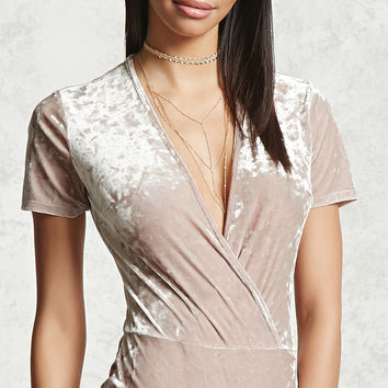 Crushed Velvet Surplice Bodysuit