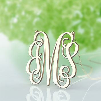 Monogram necklace 1.5 inch plated in gold monogram jewelry--fashion present for Mother Day