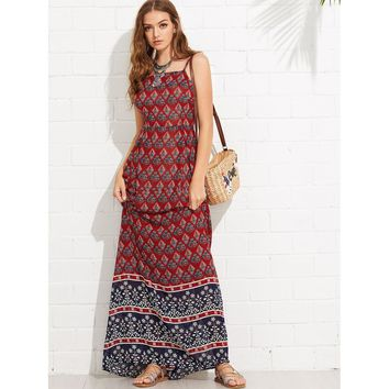 Multicolor Spaghetti Strap Sleeveless Geo Print Maxi Dress