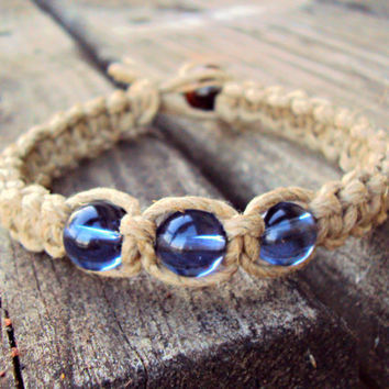 Glass Beaded Hemp Bracelet - Blue Beaded - Macrame Jewelry - Square Knot Bracelet - Thick Hemp Bracelet