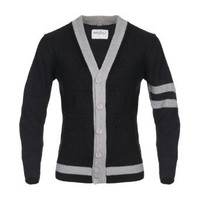 Angel Cola Varsity Letterman Black & Gray Cardigan Two Tone Cotton Sweater