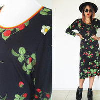Vintage 60's LEONARD PARIS authentic collectible strawberry floral flower thin long sleeves midi dress summer black red print mod hippie
