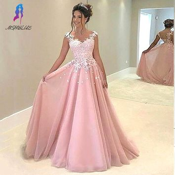 Charming Pink Lace Appliques Prom Dresses Long Chiffon Cap Sleeve Pleats Formal Women Evening Party Gowns Customized