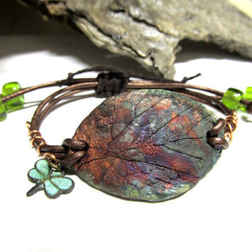 Beaded Greek Leather Wrap Bracelet, Metallic Copper Raku Ceramic Leaf Wrap Bracelet, Ceramics and Pottery Jewlery Adjustable Size