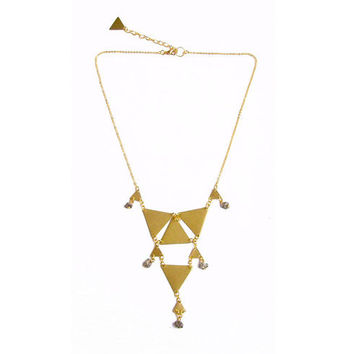 Triangle Geometric Statement Necklace - Brass Bib Pendant Necklace - Tiny Armor Collection