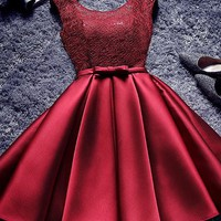 A| Chicloth Short Burgundy Homecoming Dress Bridesmaid Dress