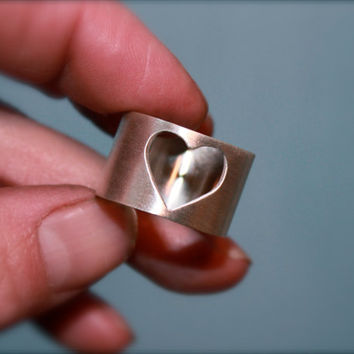 Heart ring Handmade sterling silver cigar band by KittyStoykovich
