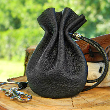 Mens Leather Pouch Bag, Small Black Pouch Bag, Leather Medicine Bag,  Leather Tobacco Pouch, Leather Bag Men, Tabakbeutel