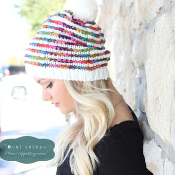 Women's Beanie, Pom Pom Beanie, Knit Hat, Winter Beanie, Slouchy Beanie, Festive Boho Knit Hat, Chunky Knit Hat, Women's Knit Hats