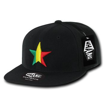 New CALIFORNIA REPUBLIC RASTA STAR SNAPBACK HAT - Black