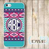 Aztec Tribal Monogram Personalized iPhone 4/4s/5/5c/5s Case,Samsung Galaxy s3/s4/note3,Custom Initials Monogrammed,Plastic or Rubber Cover