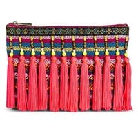 Women's Striped Oversized Pouch with Beaded Tassels - Pink