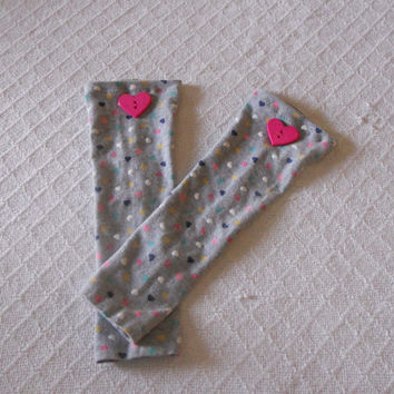 Grey Baby Leg Warmers Girl With Hearts, Toddler Leg Warmers, Grey Baby Leggings, Baby Boot Socks, Slouch Sock, Footless Sock