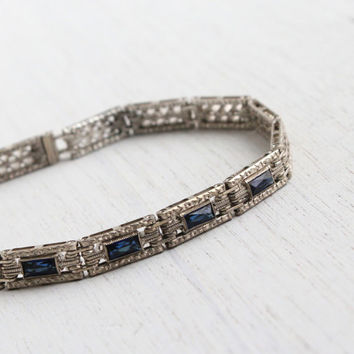 Antique Art Deco Sterling Silver Sapphire Blue Bracelet - Vintage 1920s 1930s Filigree Bridal Panel Jewelry / Wells Inc.