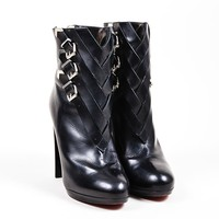 DCCK2 Black Christian Louboutin Leather Cross Buckle Troop 120 Booties