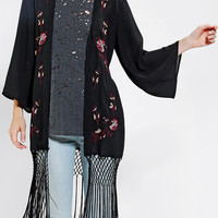 Staring At Stars Embroidered Fringe Kimono Jacket - Urban Outfitters
