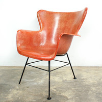 Selig Salmon Red Fiberglass Wingback Chair Lawrence Peabody