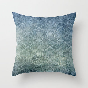 Grunge Snowflakes - Blue Throw Pillow by Susan Weller | Society6