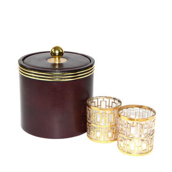 Ice Bucket Brown Ice Bucket Brown and Gold Ice Bucket Vintage Ice Bucket Erwyn Ice Bucket Barware Bar Cart Accessories Ice Bucket Brown