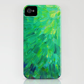 SEA SCALES in GREEN - Bright Green Ocean Waves Beach Mermaid Fins Scales Abstract Acrylic Painting iPhone & iPod Case by EbiEmporium