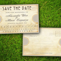 """Vintage Rustic Train Ticket Customizable 4"""" x 6"""" Save The Date Wedding PostCard - 50 Pieces PRINTED Double Sided Postcard"""