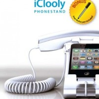 iClooly Phone Handset and Sync Stand for iPhone 4S, 4, 3GS, 3G, and Other Wireless Phones with 3.5 mm Headphone WHITE (Bonus Free Stylus Pen)