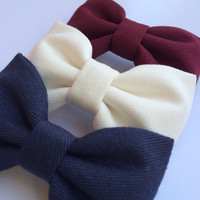 Winter white, burgundy, and navy Seaside Sparrow hair bow lot.  Perfect birthday gift for any girl.