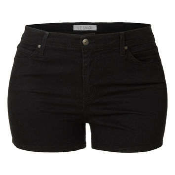 LE3NO Womens Plus Size Stretchy High Waisted Black Denim Shorts with Pockets