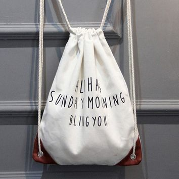 """Aloha Sunday Morning Bling You"" Drawstring Bags Cinch String Backpack Funny Funky Cute Novelty"