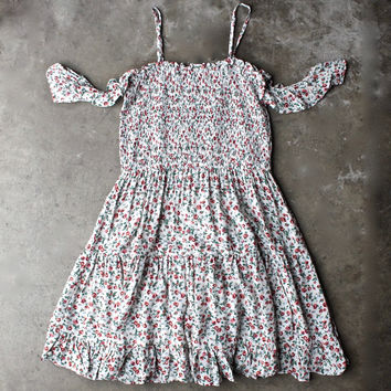 off the shoulder tiered floral print smocked dress