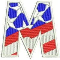 M Alphabet Letters of US Flag Iron on Small Badge Patch for Biker Vest