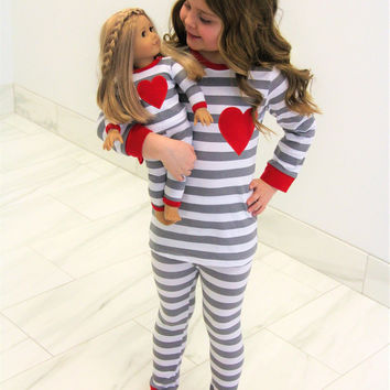 Doll & Me PJ jammie set, (KIDS 2T left only!) red heart with stripes (includes kid & doll set)
