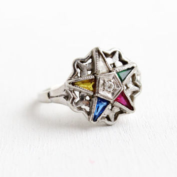 Vintage 10k White Gold Order of the Eastern Star Diamond Ring - Size 7 1/4 Masonic Created Gemstone IOFX Fine Jewelry