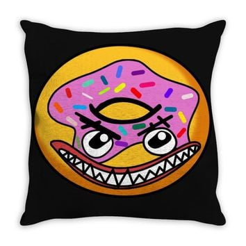 Angry Donut Throw Pillow