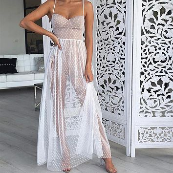 Sexy High Split Lace Maxi Party Dresses Women See Through Dot Mesh Elegant Long Dress Night