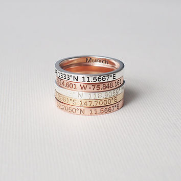 Coordinates Ring / Latitude Longitude Ring / Personalized Latitude Longitude Jewelry / Location Ring CR05